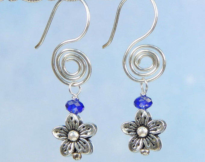 Stylish Flower Dangle Fire Polished Blue Sapphire Spiral Tarnish Resistant Sterling Silver Argentum Earrings