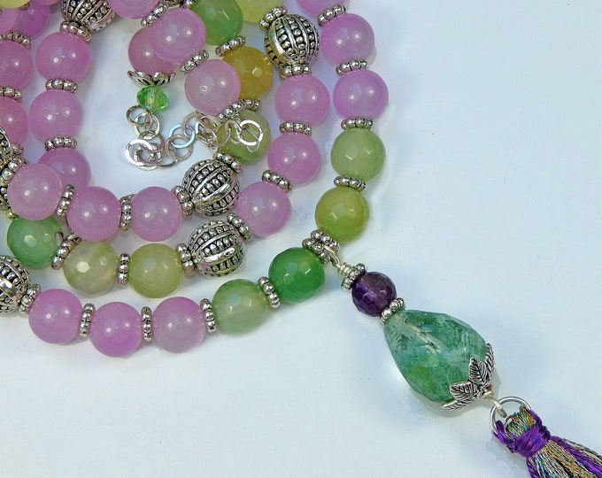 Long Tassel Necklace With Lilac Green and Yellow Pastel Color Aventurine and a Green Moss Crystal Pendant