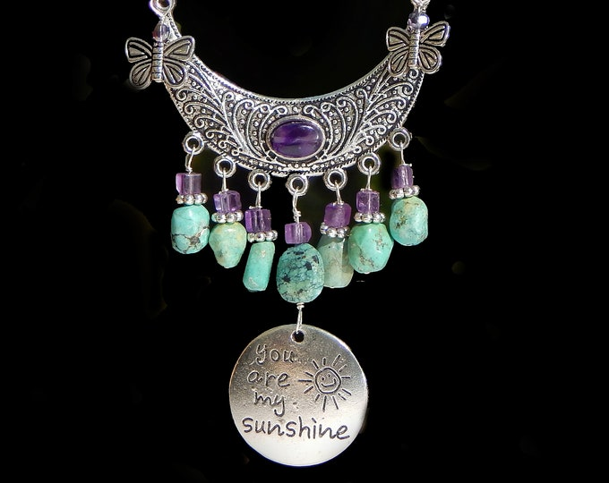 You Are My Sunshine Turquoise Amethyst Necklace Makes a Perfect Gift for a Special Woman in Your Life