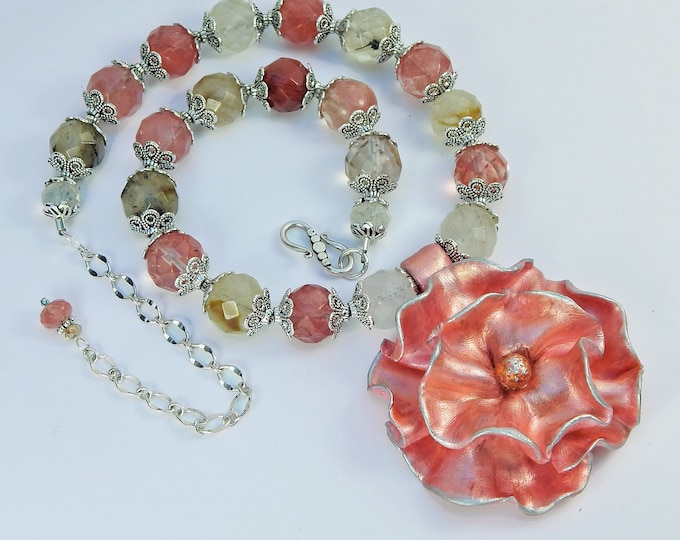 Pink Flower Necklace is a Perfect Gift for a Nature and Flower Lover/Statement Necklace for Her/FREE Shipping in the USA