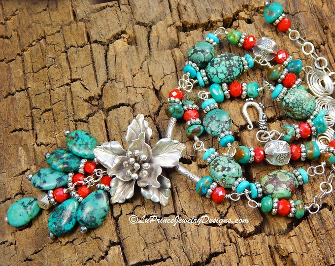 Raw Green and Blue Natural Turquoise Sterling Silver Necklace with Faceted Red Coral and Sterling Flower Pendant and Teardrop Turquoise Drop