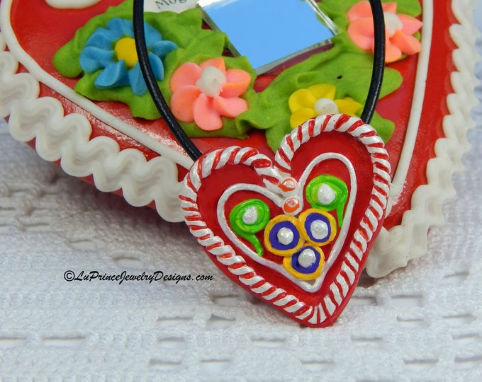 Croatian Licitar Heart or Lictarsko Srce  Colorful Heart Pendant Necklace on The Adjustable Length Leather String