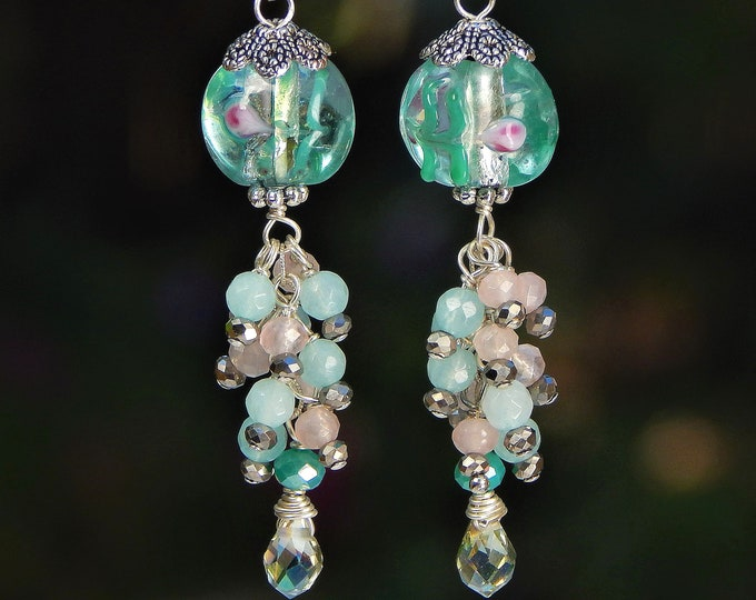Blue-Green  Aquamarine and Pink Morganite Gemstone Long and Dangly Murano Glass Cluster Sterling Silver Earrings