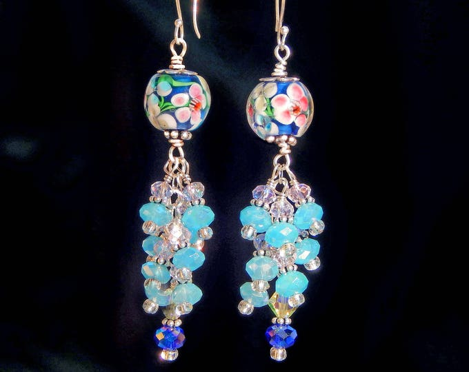 Cluster Drop Sterling Silver Earrings in Spring Colors. Perfect Valentines Day Gift
