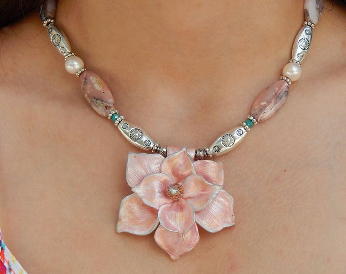 Blooming Bohemian Magnolia Flower Statement Necklace made with Pink Peruvian Opal Fresh Water Pearl and Hand Stamped Silver Beads.