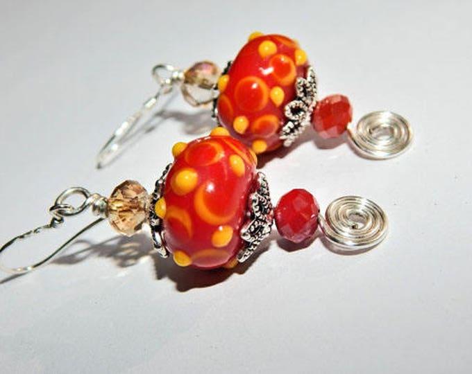 Festive, Sterling Silver, Murano Glass, Drop Earrings