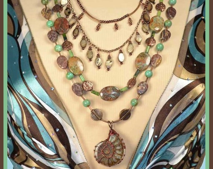 Fall Colors Necklace, Long, Multi Strand, Wire Wrapped Bohemian Necklace,  Mother of Pearl, Turquoise Necklace with Detachable Strands