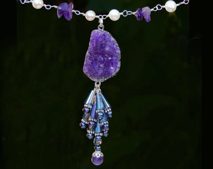 Amethyst Geode Raw Crystal Quartz Peacock Freshwater Pearl Cluster Tassel Adjustable Silver Necklace