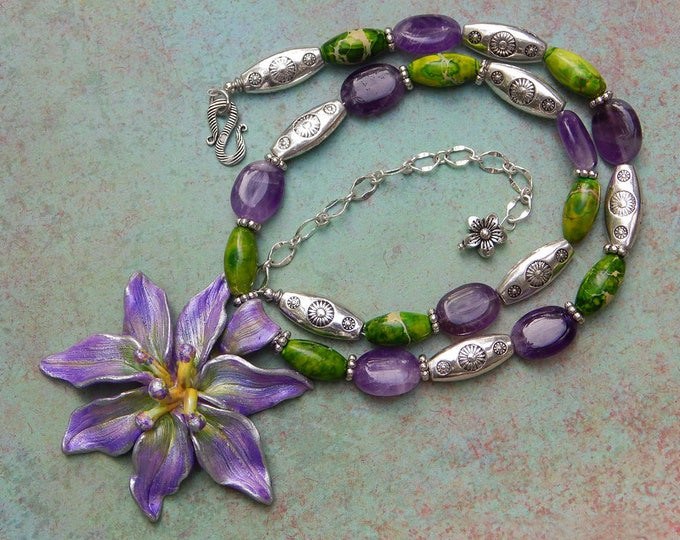 Ultra Violet, Purple Amethyst February Birthstone Green Turquoise Adjustable Length Necklace with Handmade Flower Pendant