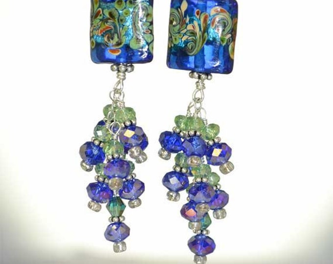 Long, Dangly, Indigo Blue and Green, Sparkly Swarovski Crystal, Sterling Silver, Murano Glass Earrings