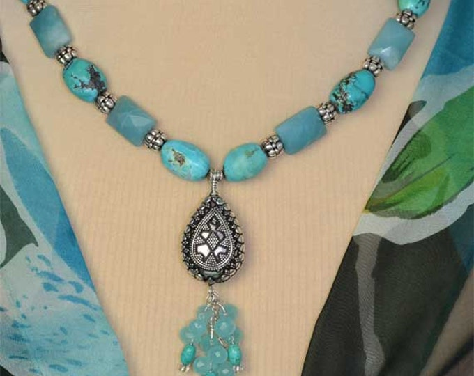 Turquoise Chalcedony and Amazonite Sterling Silver Gemstone Beaded Tassel Necklace