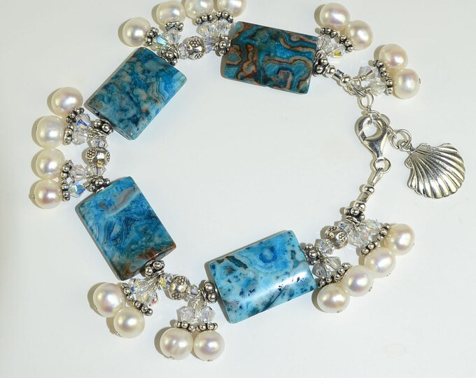Larimar and White Pearl With Sea-Shell Charm,Sterling Silver Beaded Bracelet