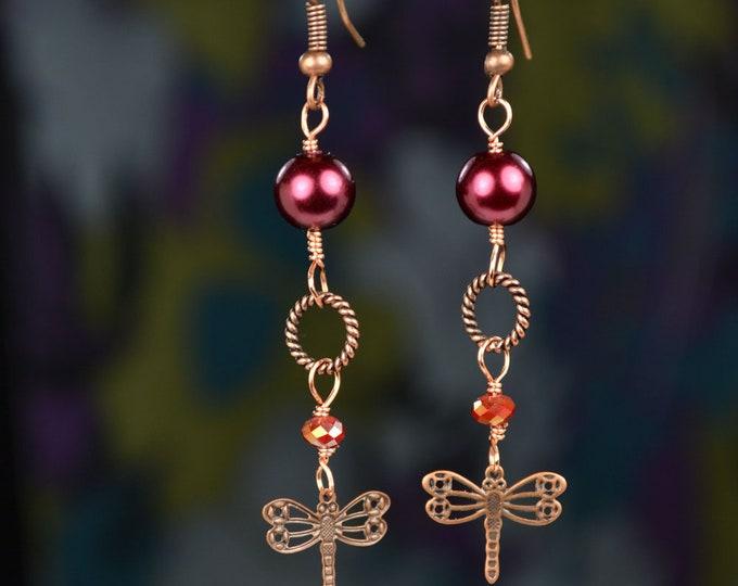 Whimsical Copper, Dragonfly, Burgundy, Pearl Dangle Drop Earrings