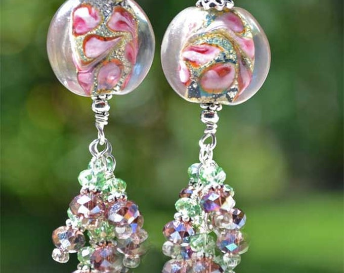 Colorful, Long and Dangling Crystal Lampwork Sterling Silver Earrings