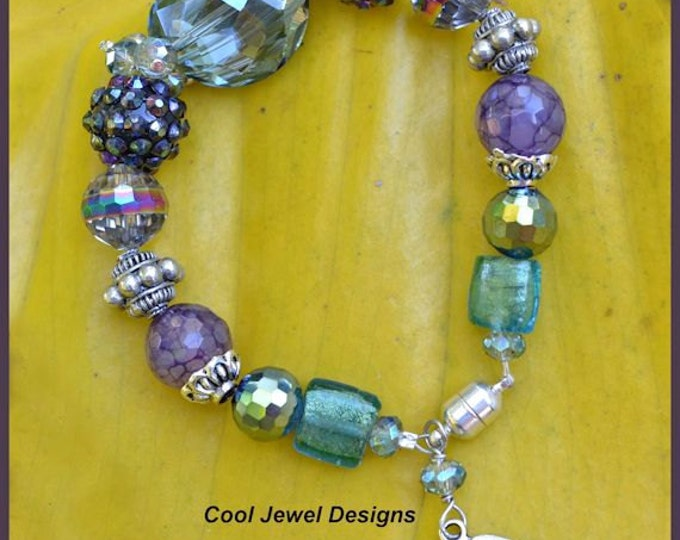 Gifts for Her, Bracelet with Inspirational Message and Blue Green and Purple Chunky Crystals