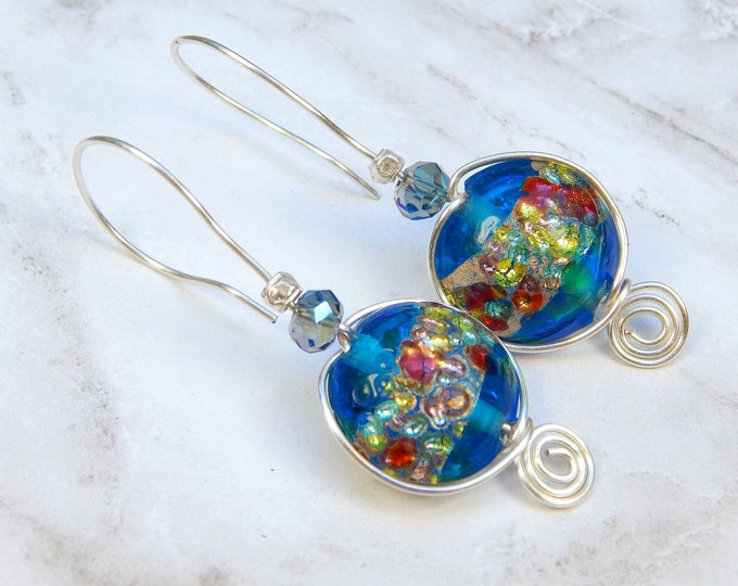 Indigo Blue Art Deco Wire Wrapped Spiral Earrings with  Murano Glass and Hand Painted  Flower Designs