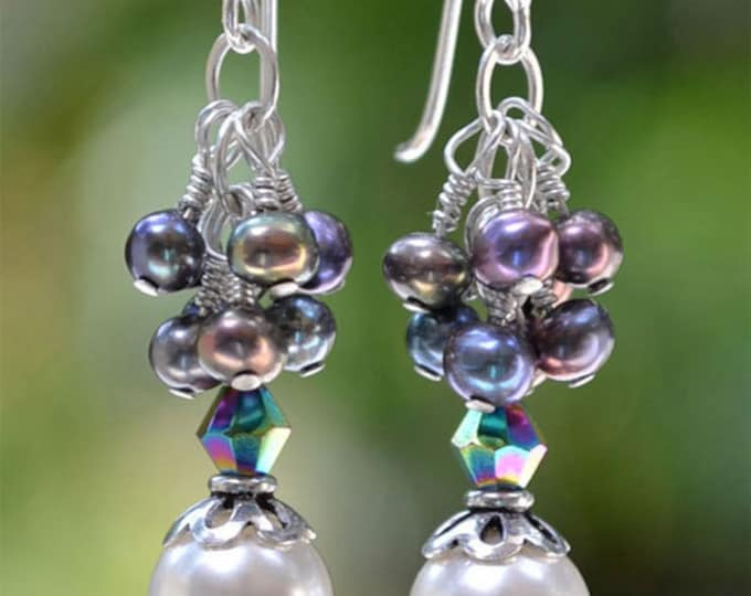 Long and Dangly  Black and White,  Green and Mauve Sterling Silver Pearl Earrings