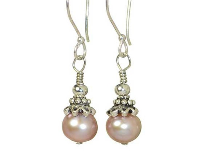 Pink Pearls - Sterling Silver Earrings