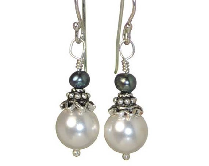 Elegant and Classy, White Pearl Sterling Earrings by Cool Jewel Designs 2