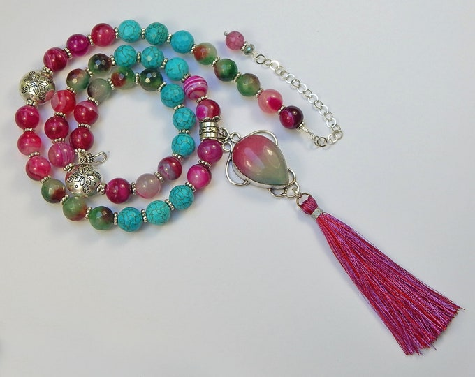 Colorful Mala Bohemian Necklace with Fuchsia Blue Green Brown Gemstones and Sterling Silver Pink Watermelon Jade Teardrop Tassel Pendant