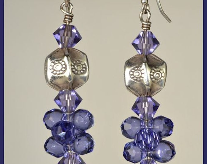 Lavender Blue Crystal Hand Made Hill Tribe Sterling Silver Women's Cluster Earrings