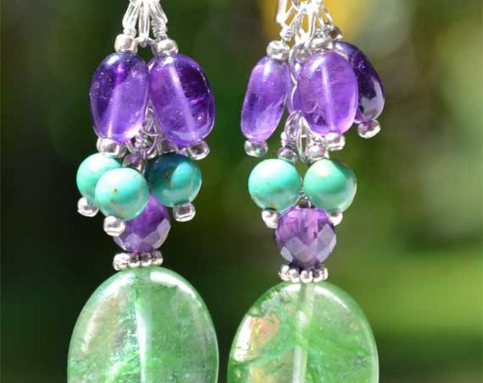 Long and Dangling Purple Amethyst, Turquoise and Green Moss Quartz Sterling Silver Earrings