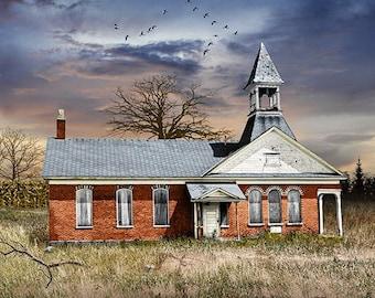 Two Room Country Brick Schoolhouse, Rural Michigan School, Historic Rural Education, East Holland School, Michigan Landscape Photograph