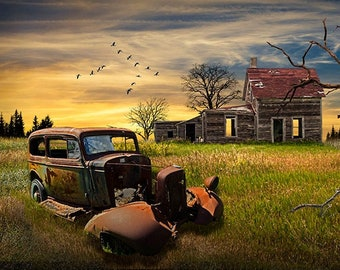 Junk Car by an Abandoned Farm House at Sunset, Americana Country Rustic Rural Landscape, Geese Migrating, Fine Art Photograph, Wall Decor