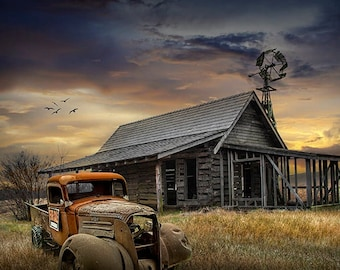 Pickup Truck for Sale by Abandoned Farm House with Windmill at Sunset, Americana Rustic Rural Landscape Photo, Dramatic Sky at Evening
