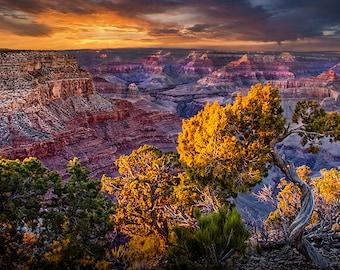 Grand Canyon South Rim at Sunset, Grand Canyon National Park, Arizona Landscape, Picturesque Scenery, Western Vista, Fine Art Photograph