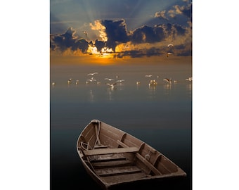 Morning Has Broken Like The First Morning, Wooden Row Boat, Morning Sunrise, Lake Gulls, Calm Water, Sun Burst, Light Beams, Boat Photograph