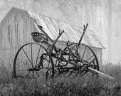 Foggy Morning with Vintage Farm Equipment by an Old Wood Barn in either Black White or Sepia No.BW74953BG Rural Landscape Photograph