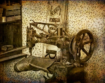 Vintage Singer Sewing Machine in a Shoe Repair Shop in Rural Pioneer 1880 Town Museum in South Dakota No.3147OL A Still Life Photograph