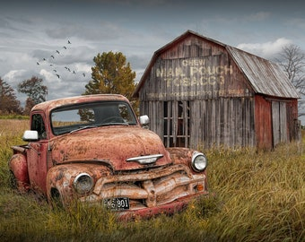 Americana Photograph of Abandoned  Red Pickup with Weathered Red Barn and Mail Pouch Tobacco Sign, Rural Country Landscape, Rustic Fine Art