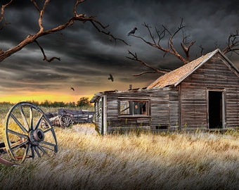 Abandoned Farm that has seen Better Days in Rural America, Deserted Farm with house and wooden wagon, A Rural Country Americana Photograph