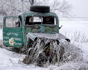 Abandoned Truck, Tow Truck, Rusty Automobile, Saranac Cities Service, Winter Morning, Hoar Frost, Michigan Photograph, Auto Landscape