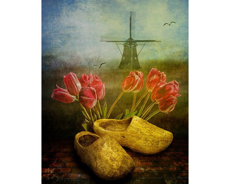 Image result for tulips and Dutch shoes