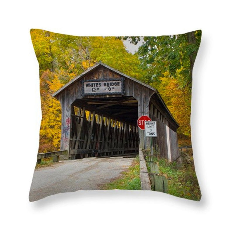 Whites Covered Wooden Bridge On The Flat River Near Lowell Michigan Throw Pillow No0310 Decorative Novelty Pillow Home Décor Cushion Cover