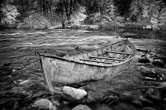 River Canoe, Boat Landscape, Black and White Photography, Canoe Trip,  Thornapple River, Michigan Landscape, Sepia Tone, Classic Fine Art