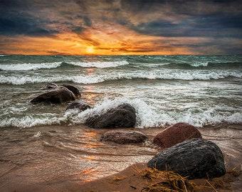 Lake Michigan Sunset,  Waves crashing on Lake Shore Rocks, Rustic Cottage Decor, Great Lake, Sturgeon Bay, Nautical Art, Seascape Photograph