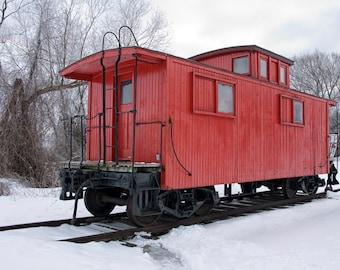 Red Train Caboose in Winter by Whitehall Michigan No.008 a Fine Art Train Photograph