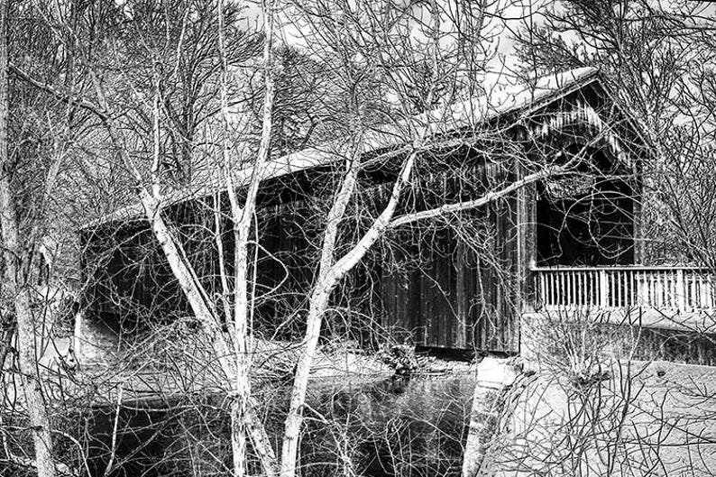 Covered Wooden Bridge Covered Bridge Winter Photograph Bridge Art Ada Bridge Thornapple River Ada Michigan Black White Sepia Tone