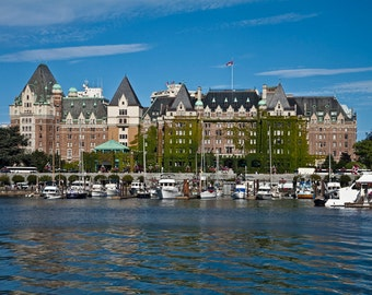 Empress Hotel and Victoria Harbor on Vancouver Island in British Columbia Canada No.18072 - A Fine Art Canadian Harbor Photograph