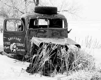 Old Abandoned Tow Truck Wreck of Saranac Cities Service in Morning Winter Hoar Frost Michigan No.147BW A Fine Art Black & White Photograph