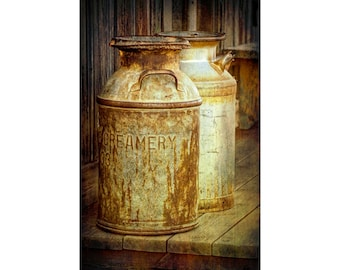 Milk Cans, Creamery Milk Can, Vintage Photograph, Dairy Can, Rustic Photograph, 1880 Town, Western Museum, Kitchen Art, Fine Art, Still Life