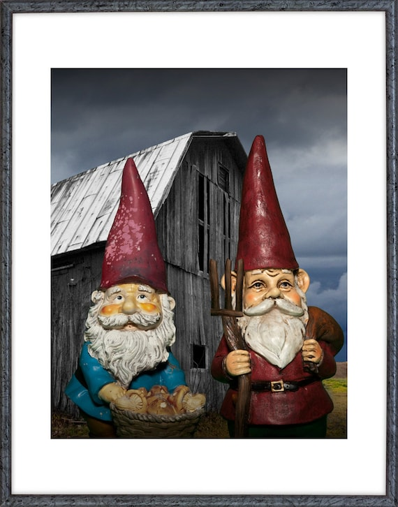 American Gothic Garden Gnomes Standing In Front Of An Old Barn With  Pitchfork A Grant Wood Influenced Surreal Fantasy Photograph