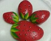 Hanpainted Strawberries River Rocks Garden Home decor Juicy Red Strawberry rocks Hand painted stone art 3D NEW