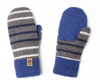 d6b4ebfd0 Sweater Mittens Women Upcycled Recycled Repurposed Wool Stripes Beige Blue  Gray Lined Fleece