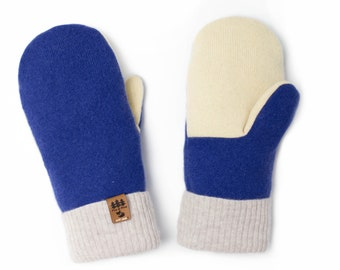 2e68b014a 100% Cashmere Sweater Mittens Smittens Women Upcycled Recycled Repurposed  Blue Yellow Fleece Lined