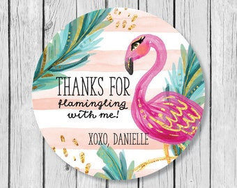 Back to School Name Label Flamingo Personalized Name Label Stickers Turquoise and Pink Flamingo Name Tag Sticker Round Label Name Tags